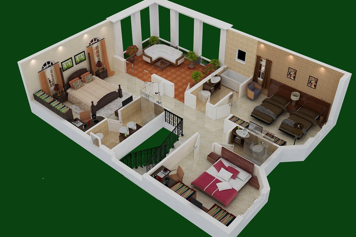 3D section of HAMILTON floor plan -first floor